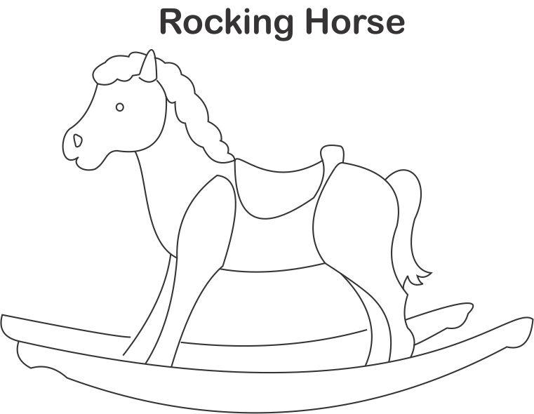 761x590 Rocking Horse Coloring Page For Kids