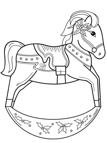 361x480 Christmas Rocking Horse Coloring Page Free Printable Pages