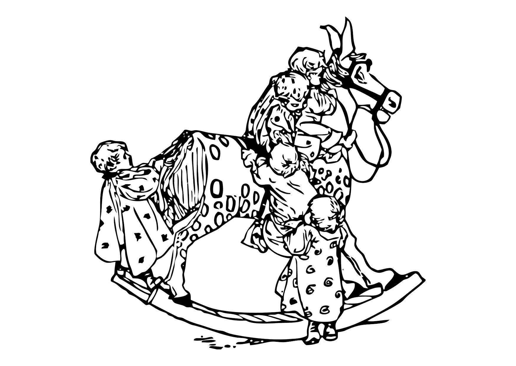 1750x1240 Coloring Page Children On Rocking Horse