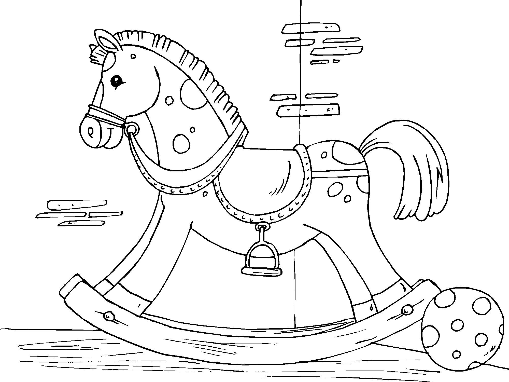 2000x1500 Coloring Page Rocking Horse