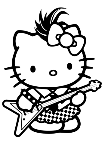 339x480 Hello Kitty Rockstar Coloring Page Free Printable Coloring Pages