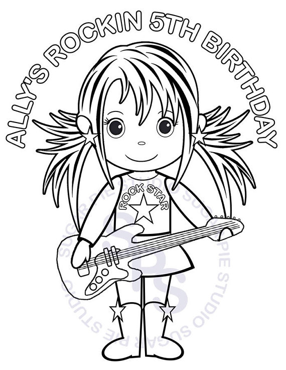 570x737 Personalized Printable Rockstar Birthday Party Favor Childrens
