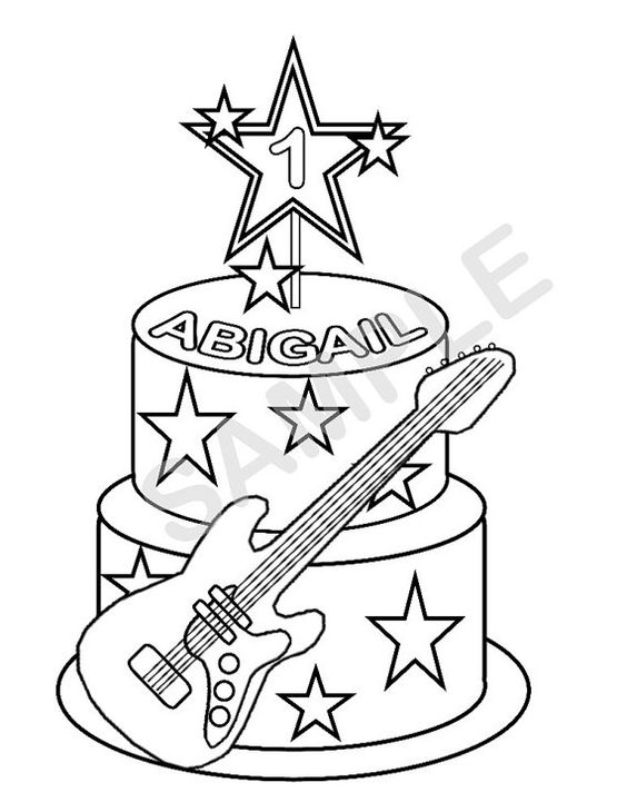 564x730 Personalized Printable Rockstar Cake Birthday Party Favor