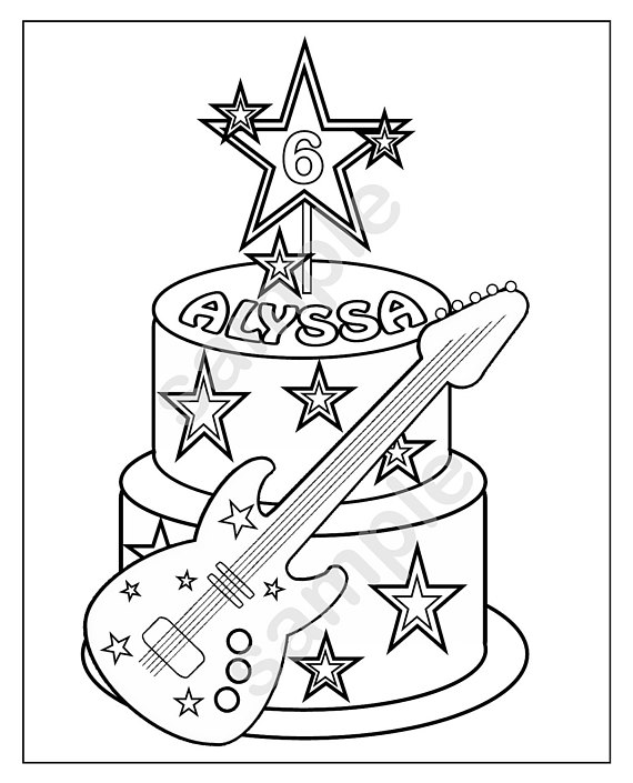 570x705 Personalized Printable Rockstar Cake Birthday Party Favor