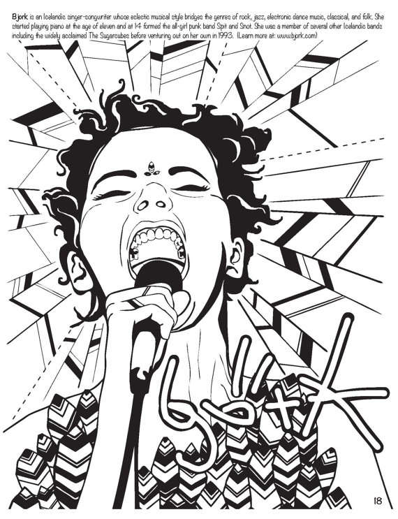 570x743 Feminist Rockstar Sketchbooks Women Who Rock Coloring