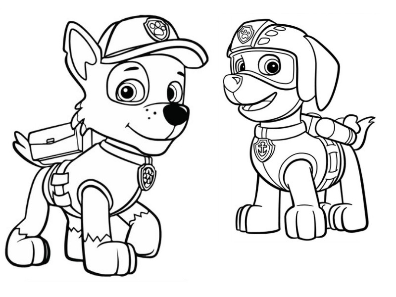 800x600 Coloring Page Paw Patrol Zuma And Rocky 4