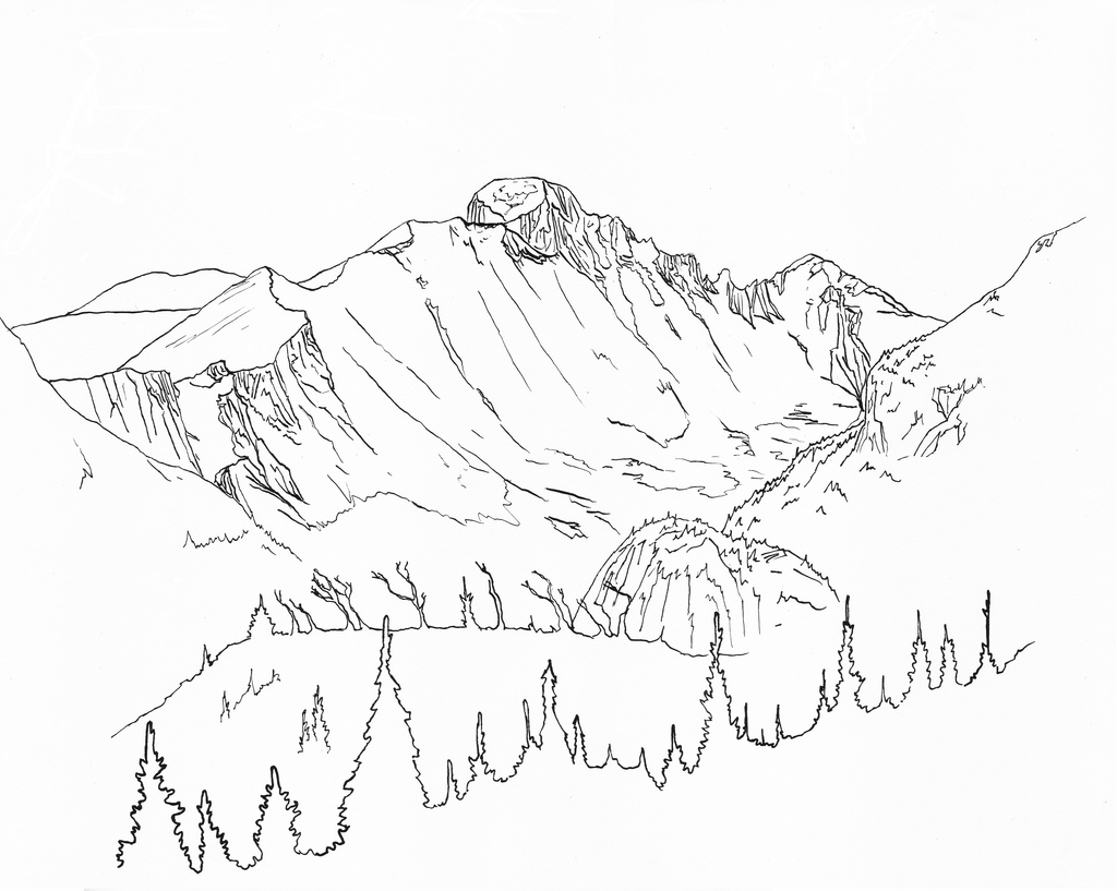 1024x817 Longs Peak Pen And Ink Drawing Of Longs Peak In Rocky