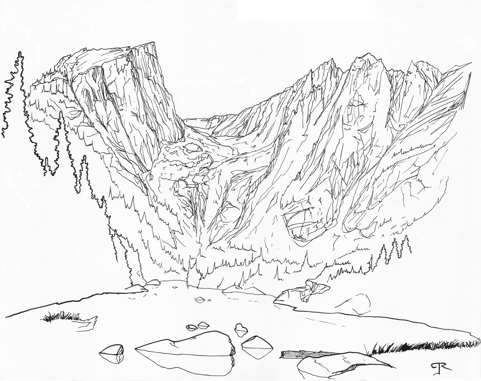 1600x1265 Rocky Mountain Line Drawing