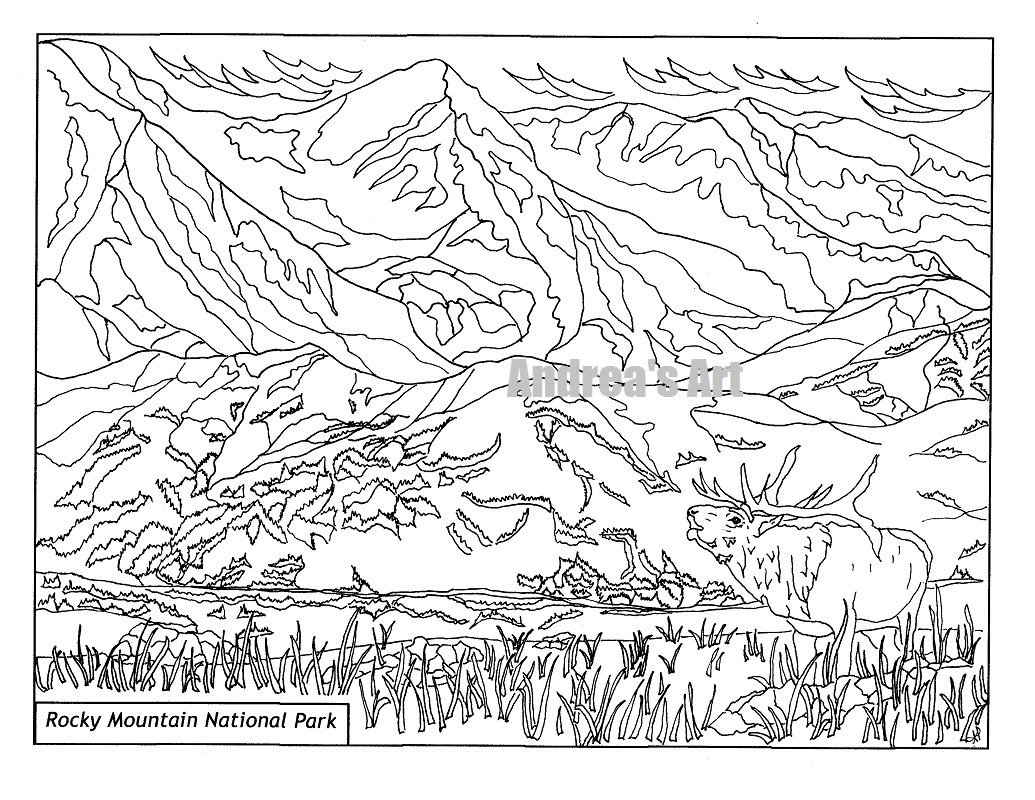 1035x800 Rocky Mountain National Park Coloring Page Animals, Nature