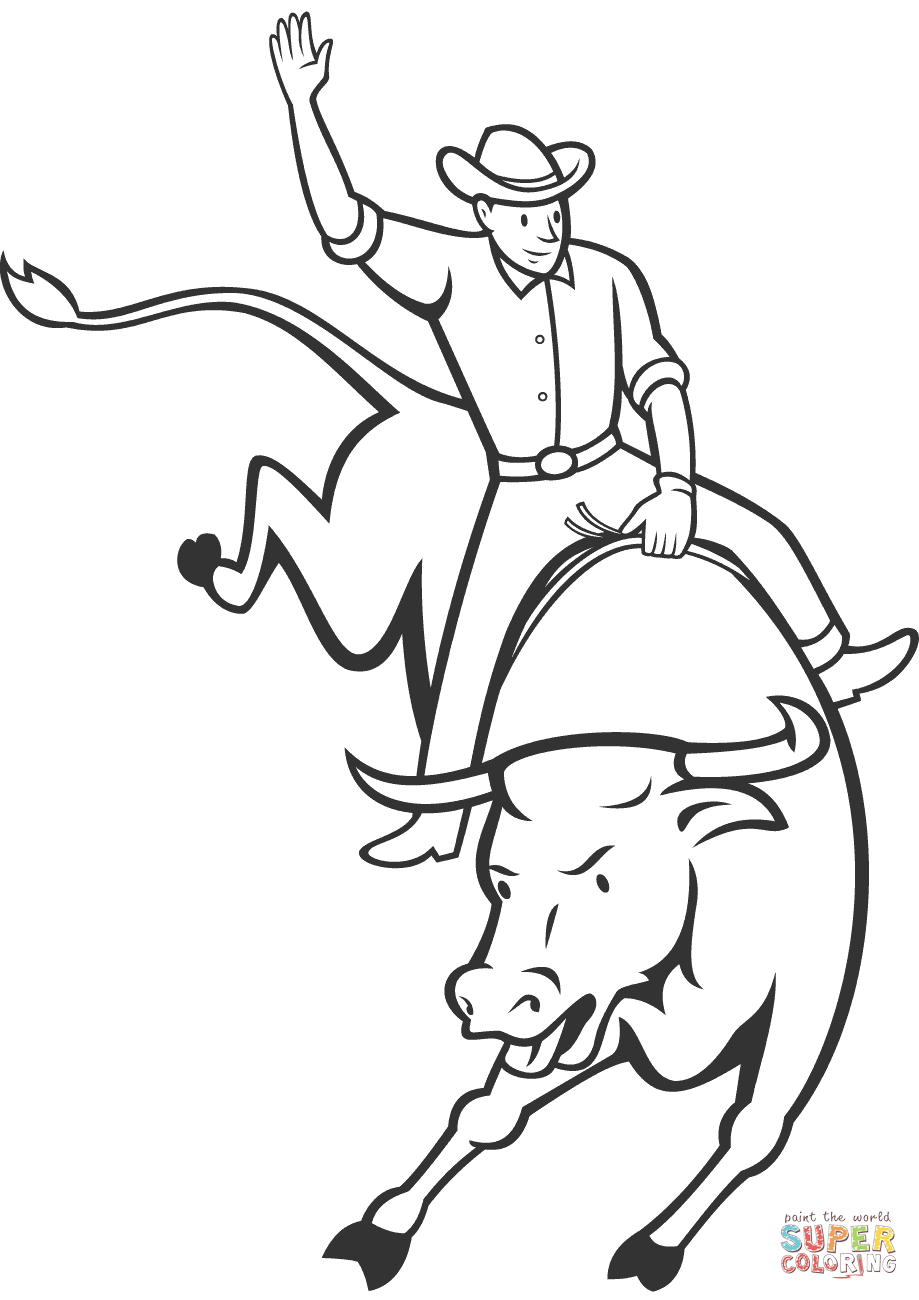 919x1300 Bull Riding Drawings Rodeo Bull Riding Coloring Page Free