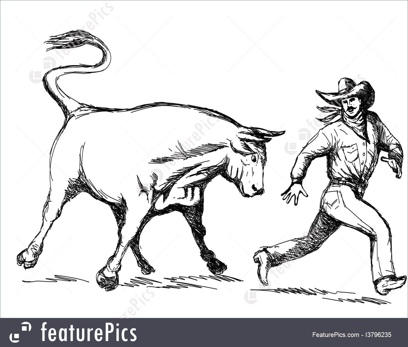 1300x1107 Illustration Of Rodeo Bull Chasing Cowboy