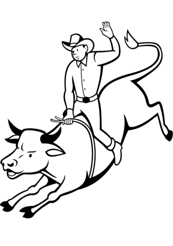 339x480 Rodeo Bull Rider Coloring Page Free Printable Coloring Pages