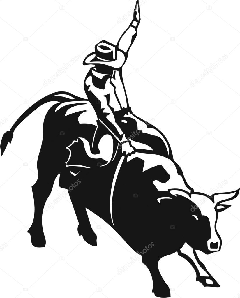 824x1023 Rodeo Bull Rider Stock Vector Alliedcomputergraphics