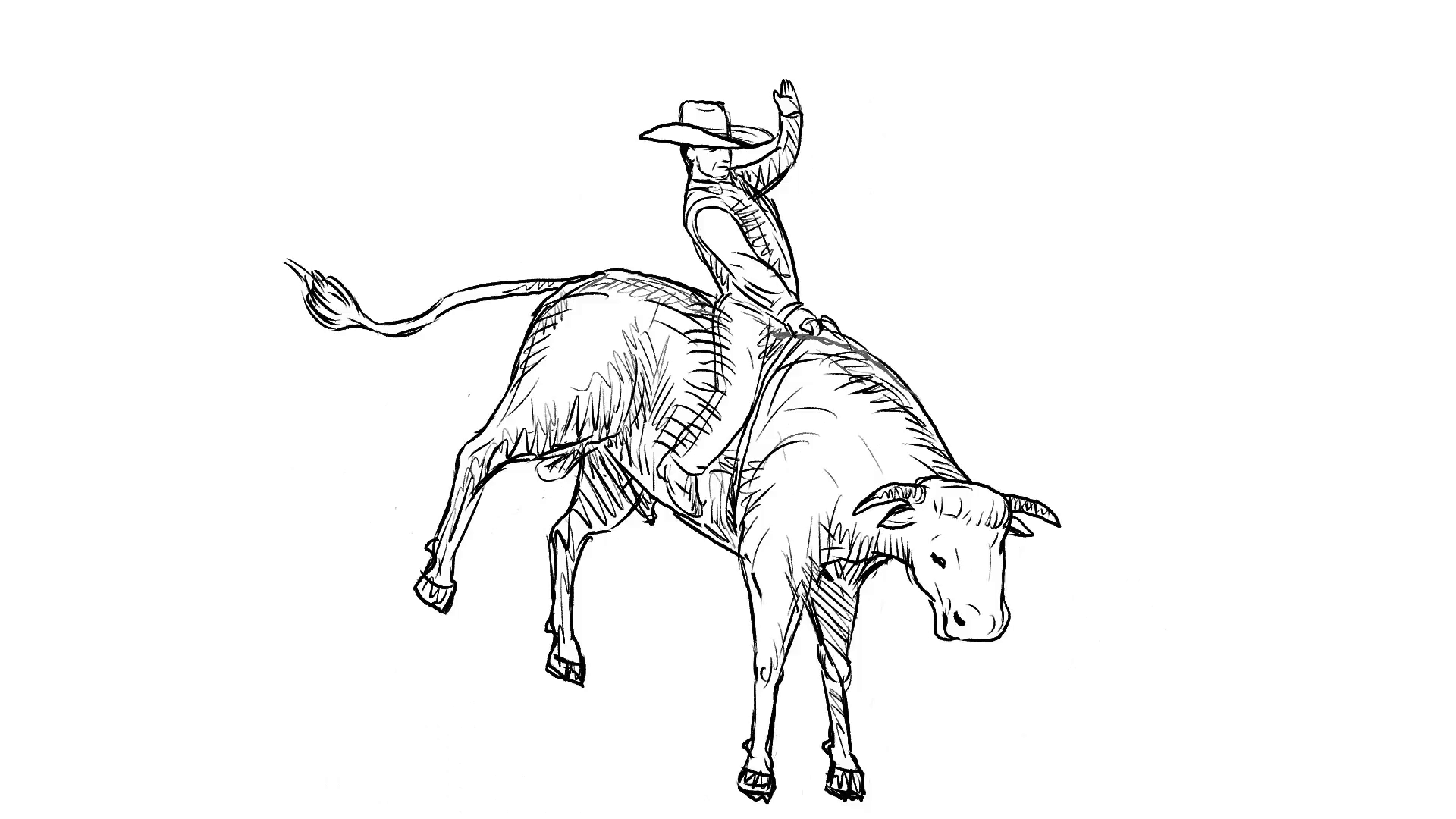 1920x1080 2d Animation Motion Graphics Showing A Rodeo Cowboy Bull Rider