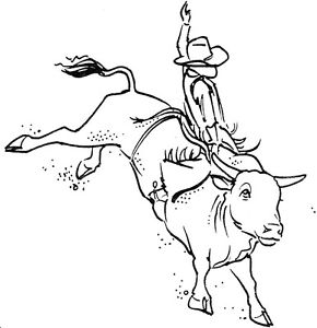 290x300 Unmounted Rubber Stamps, Western, Bull Riding Set, Cowboys, Cowboy