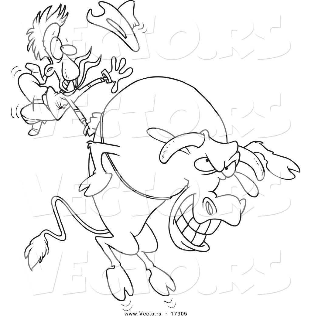 1024x1044 Vector Of A Cartoon Cowboy Riding A Giant Bull
