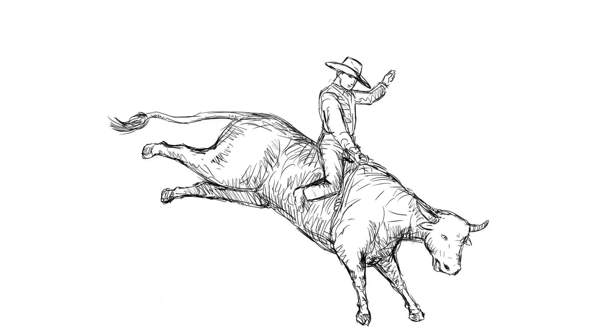 1920x1080 2dnimation Motion Graphics Showing Rodeo Cowboy Riding