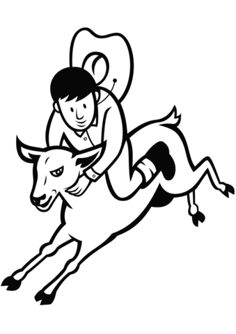 339x480 Junior Rodeo Sheep Riding Coloring Page Free Printable Coloring