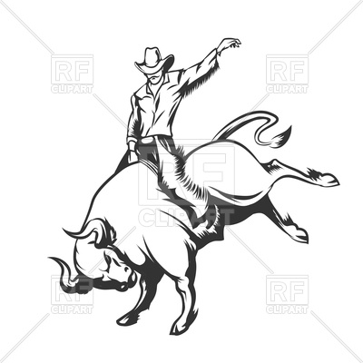 400x400 Rodeo Cowboy Riding Wild Bull Royalty Free Vector Clip Art Image