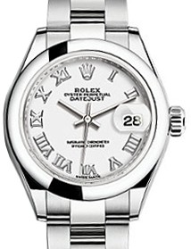 214x279 Rolex Lady Datejust 28 279160 White Roman Domed Stainless Steel