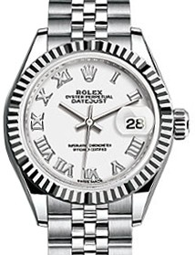 214x279 Rolex Lady Datejust 28 279174 White Roman Fluted White Gold