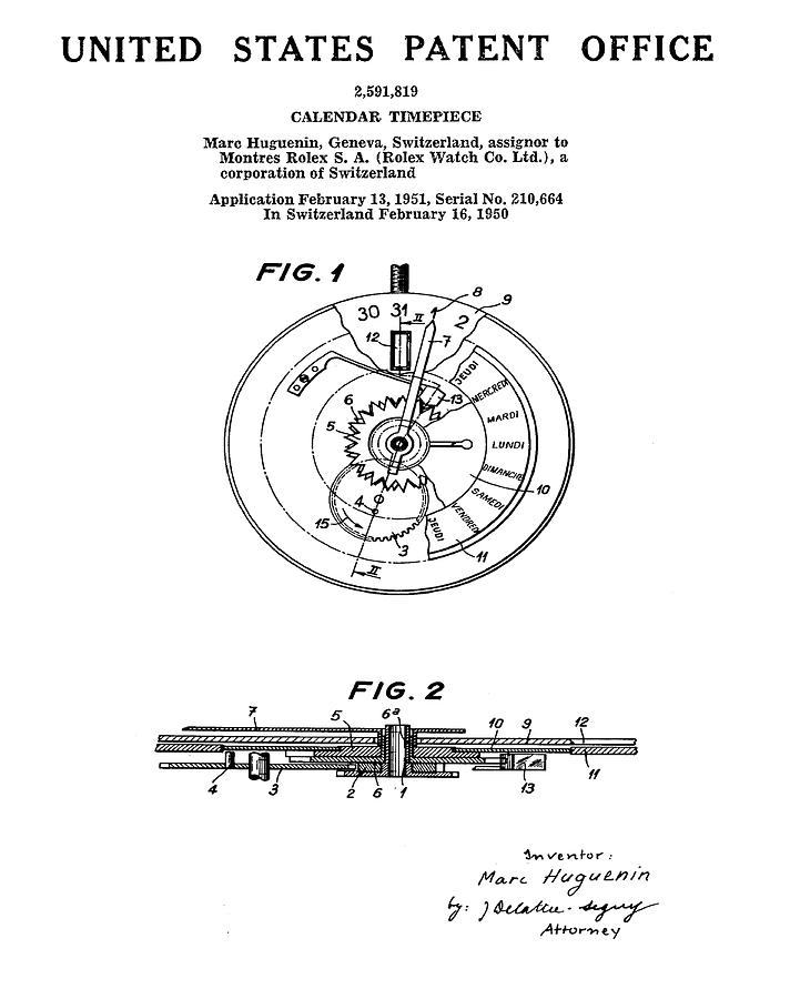 712x900 Rolex Watch Patent 1999 Drawing By Bill Cannon
