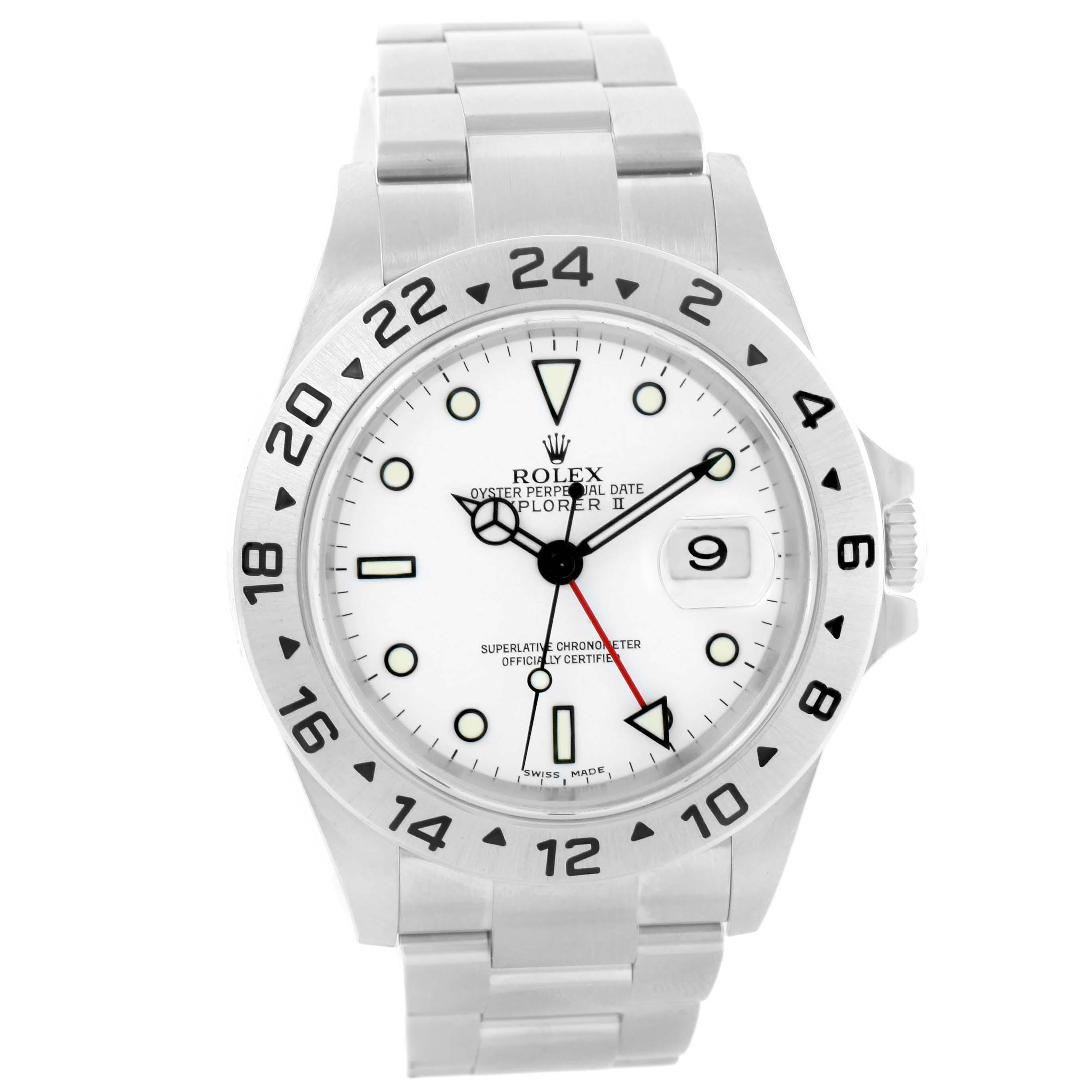 2737x2737 Rolex White Explorer Ii Dial Steel Mens 16570 Box Watch