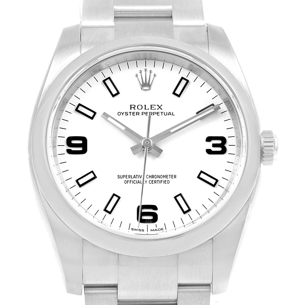 1024x1024 Rolex Oyster Perpetual White Dial Hard Rock Unisex Watch 114200