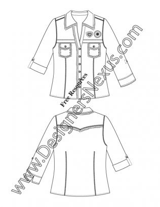 316x409 Illustrator Flat Sketch Download V11 Roll Sleeve Camp Shirt