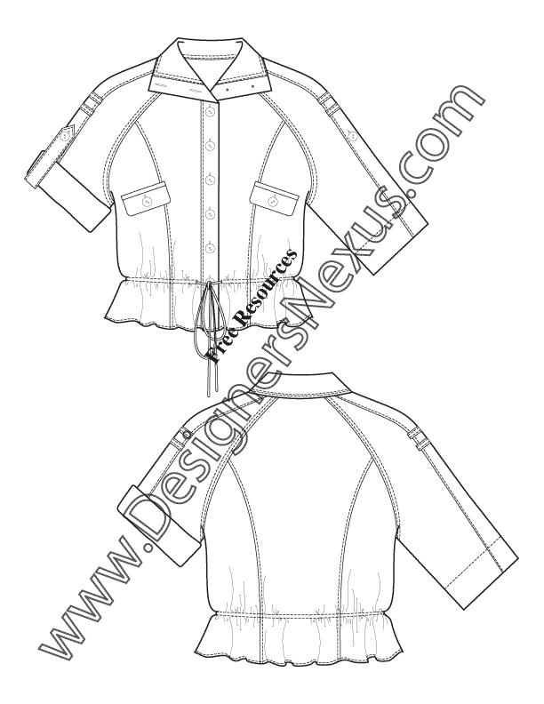612x792 Raglan Sleeve Roll Cuff Jacket V11 Fashion Technical Drawing