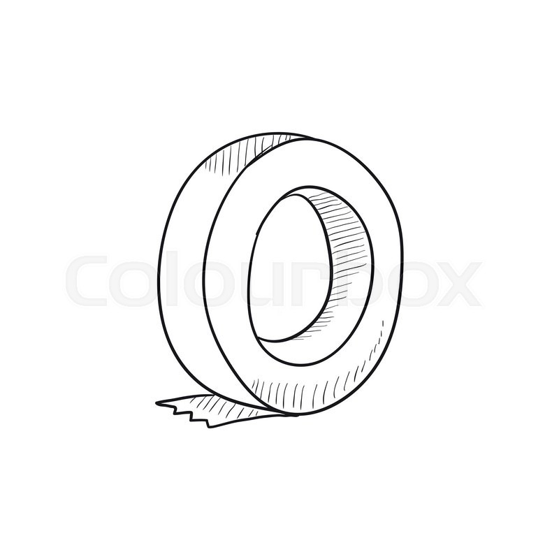 800x800 Roll Of Adhesive Tape Vector Sketch Icon Isolated On Background