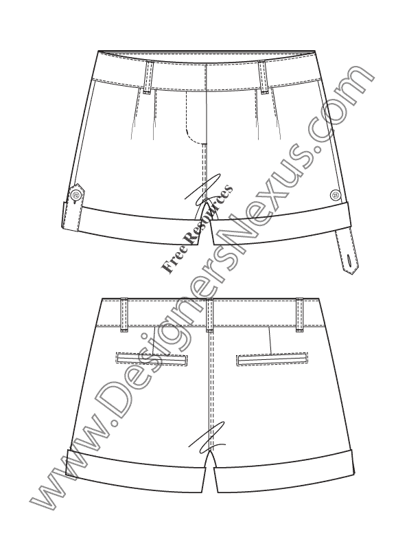 612x792 V28 Button Tab Roll Cuff Shorts Technical Flat Fashion Sketches