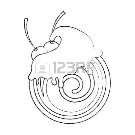 450x450 Chocolate Roll Cake Icon Vector Illustration Graphic Design