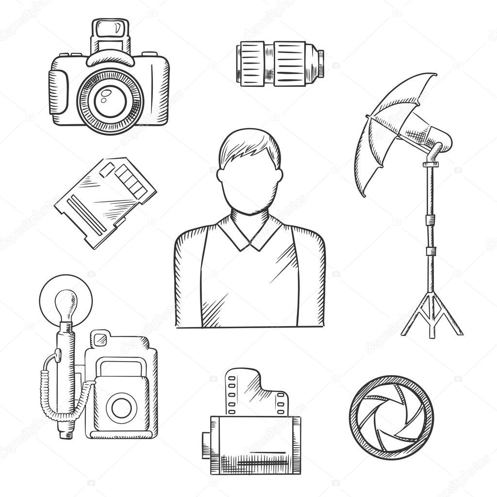 1024x1024 Photographer With Equipment And Items Sketches Stock Vector