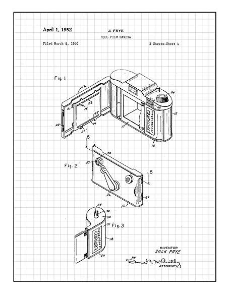 454x587 Roll Film Camera Patent Print Art Poster Black Grid