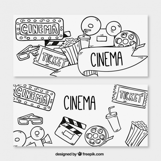 626x626 Banners Of Drawings Related To The Cinema Vector Free Download
