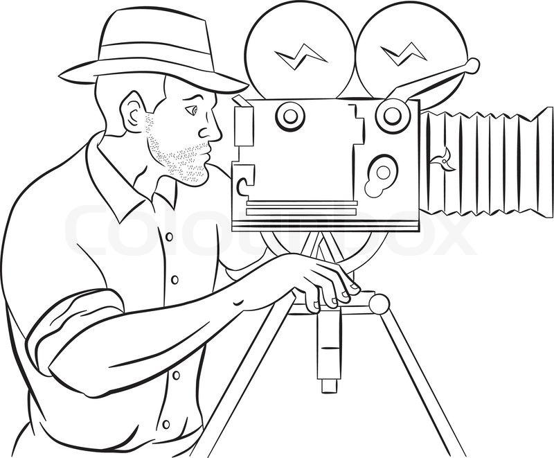 800x661 Cameraman Vintage Movie Film Camera Shooting Stock Vector