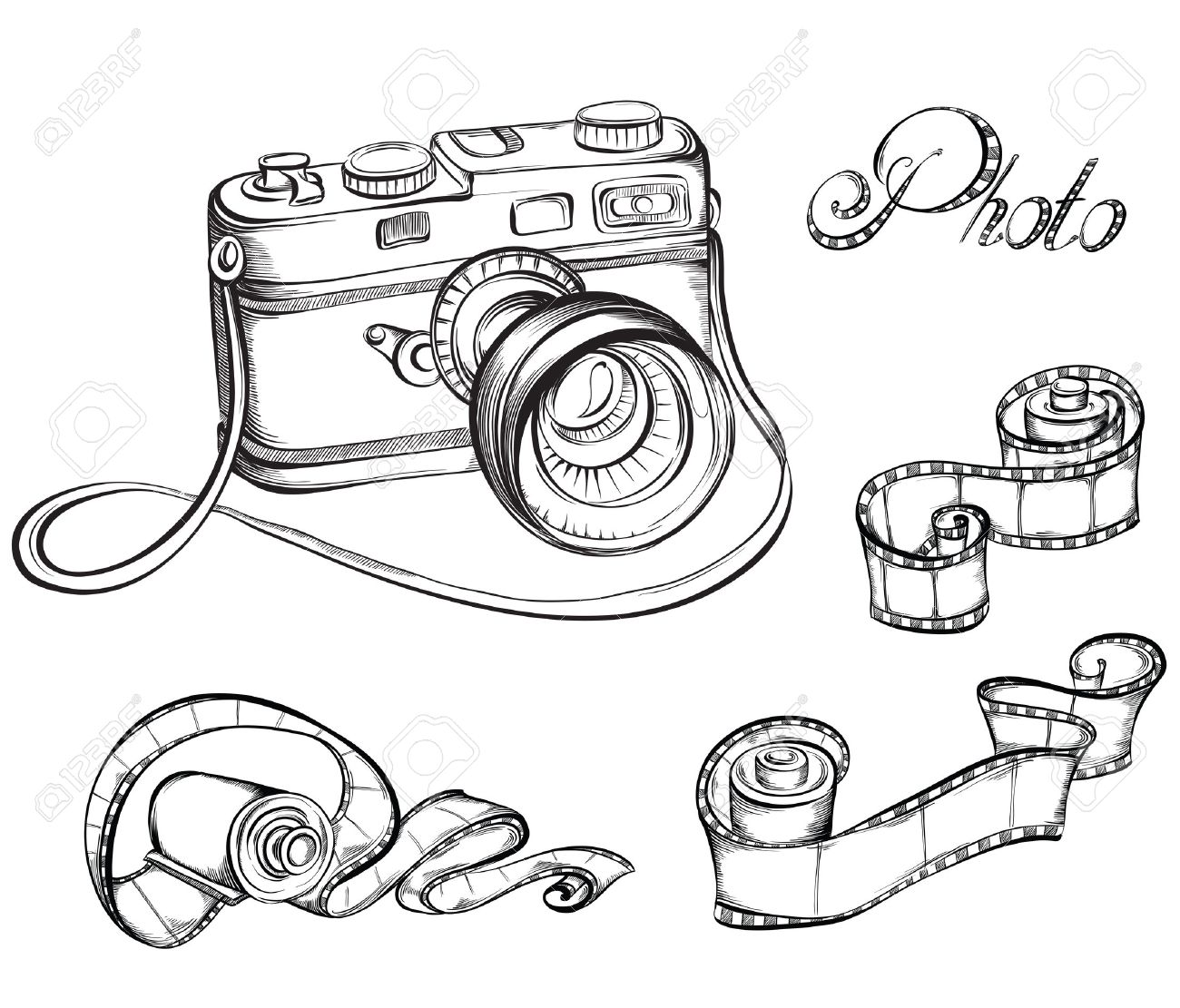 1300x1111 Collection Of Film Strip Roll And Retro Camera. Hand Drawn Vector