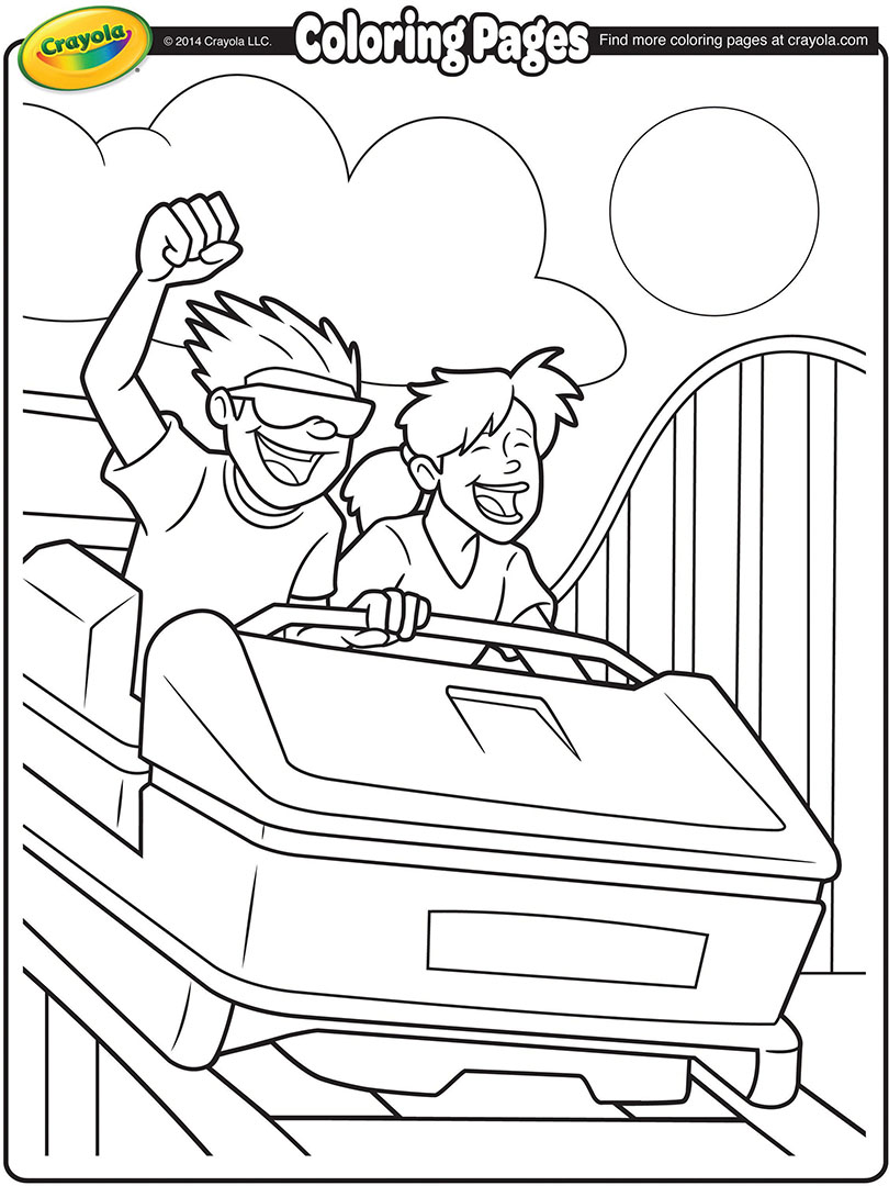 810x1080 Roller Coaster Ride Coloring Page