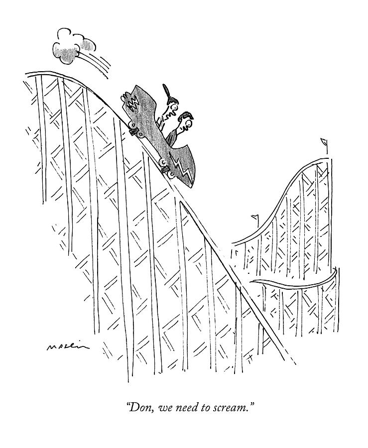739x900 Two People Ride A Roller Coaster Drawing By Michael Maslin