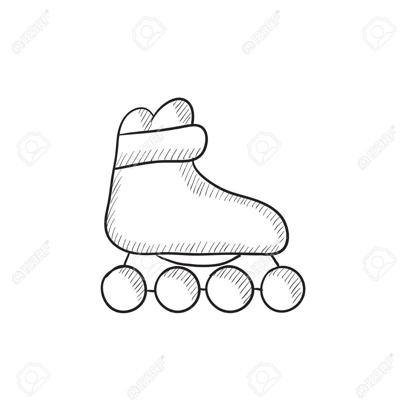 1300x1300 Roller Skate Vector Sketch Icon Isolated On Background. Hand