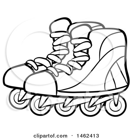 450x470 Clipart Of A Black And White Pair Of Roller Blades