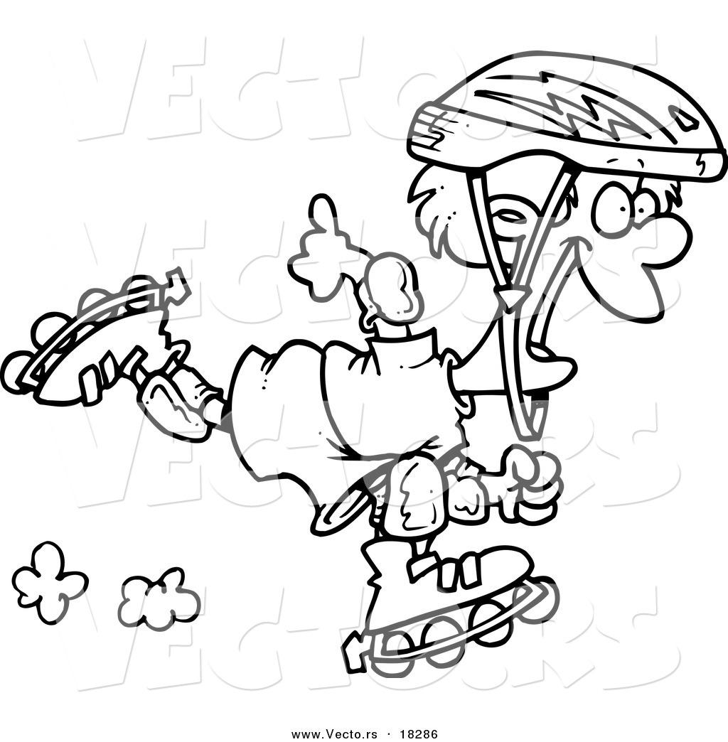 1024x1044 vector of a cartoon roller blading boy