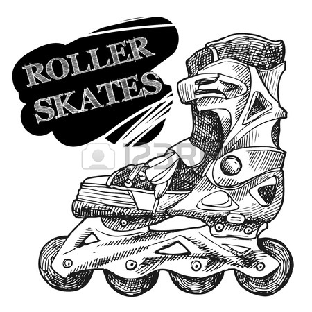 450x450 Roller Skates And Rollerblades Doodle Style Sketch. Royalty Free