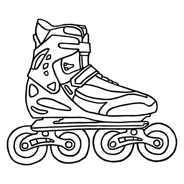 600x600 Rollerblades Coloring Page Of A Black And White Pair Of Roller
