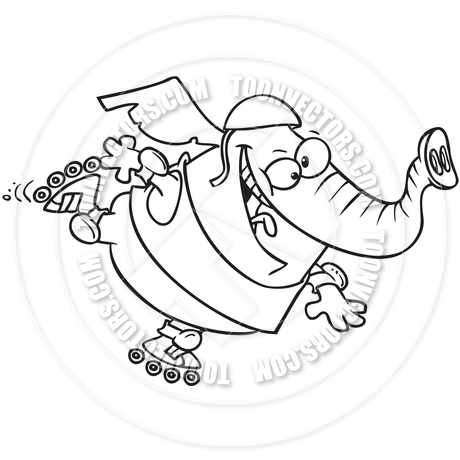 460x460 Cartoon Elephant Rollerblading (Black And White Line Art) By Ron