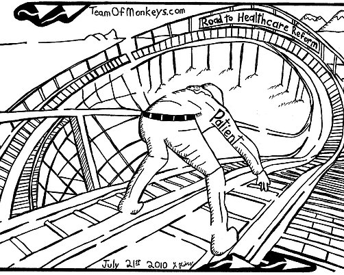 502x402 Maze Cartoon Of Patient On The Rollercoaster Of Healthcare Reform