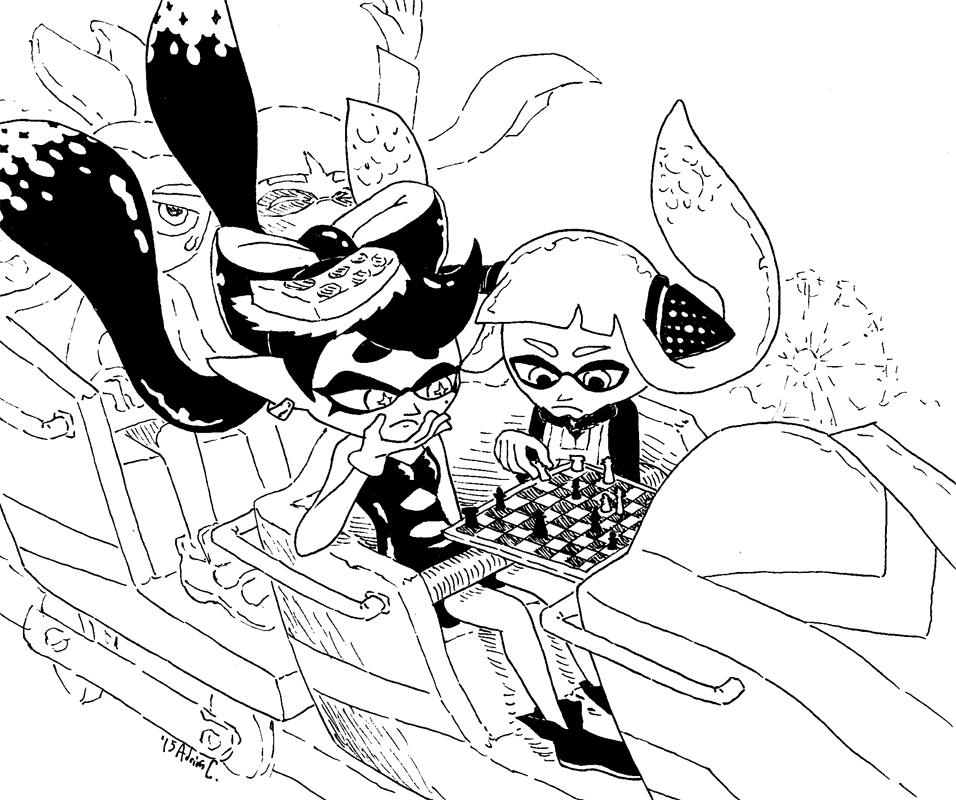 956x800 Callie Playing Chess Whit Agent 3 On A Rollercoaster Splatoon
