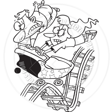 460x460 Cartoon Parenthood Rollercoaster (Black And White Line Art) By Ron