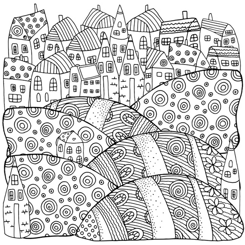 800x800 Rolling Hills And Rooftops Coloring Canvas